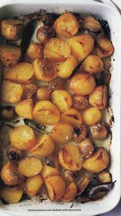 roast potatoes and shallots with bay leaves